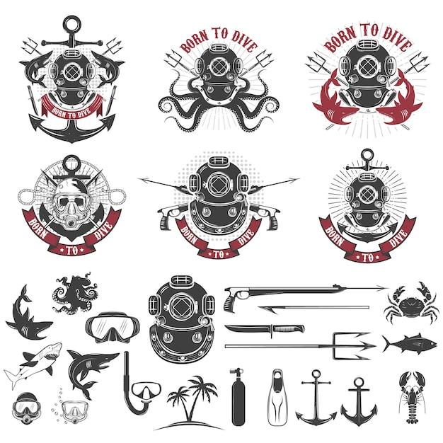 Born to dive. set of vintage diver helmets, diver label templates and design elements. Premium Vector