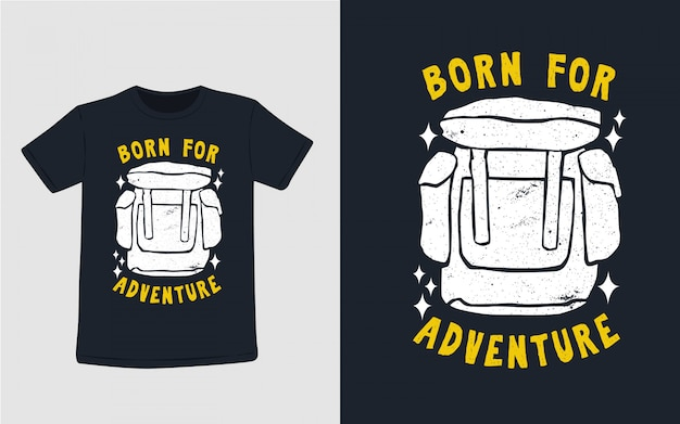 Рожденный для приключений рисованной типографии для дизайна футболки Premium векторы