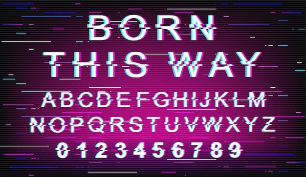 この方法で生まれたグリッチフォントテンプレート。レトロな未来的なスタイルのアルファベットが紫色の背景に設定。大文字、数字、記号。ゆがみ効果のある公差書体デザイン Premiumベクター