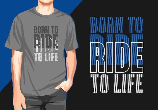 Рожденный для езды дизайн футболки с типографикой Premium векторы