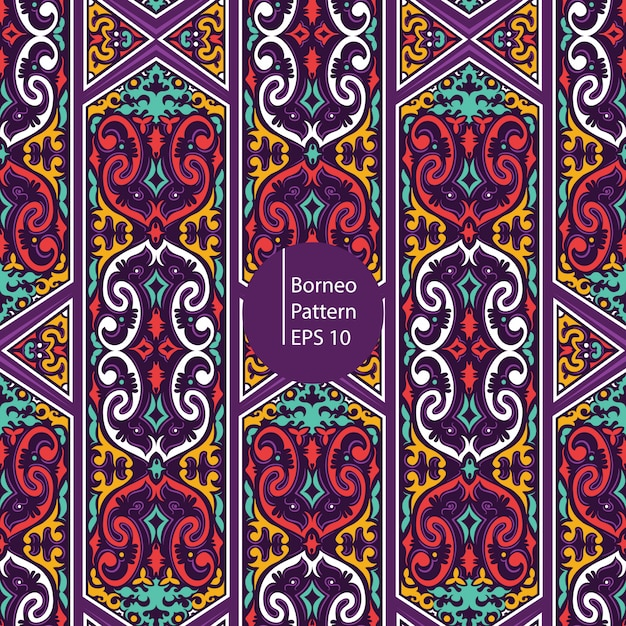 Borneo colorful vintage seamless patten background Premium Vector