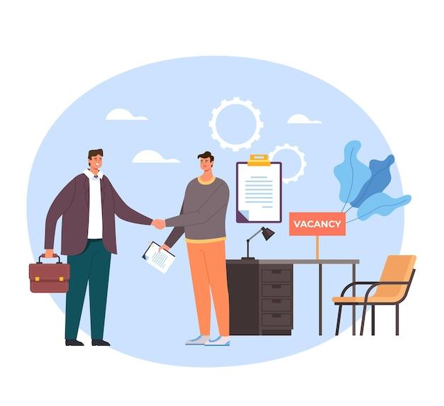Босс и рабочие персонажи, пожимая руки. концепция найма охоты на голову. Premium векторы
