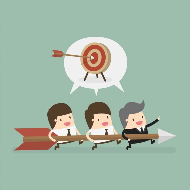Boss and employees working together Free Vector