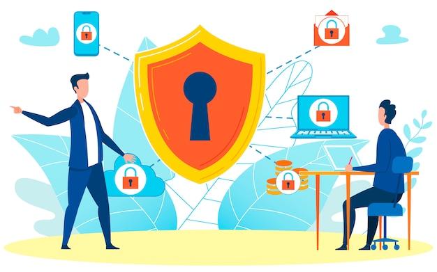 セキュリティに関するブリーフィングを行う上司 Premiumベクター