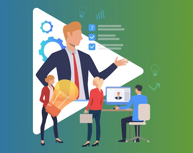 Boss giving direction and people working Free Vector