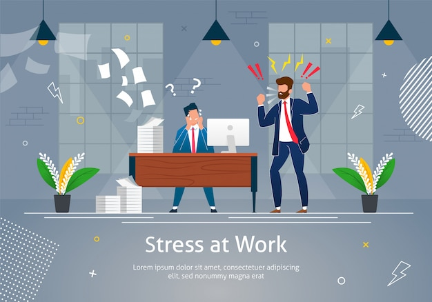 Boss man character screaming on stressed worker. Premium Vector