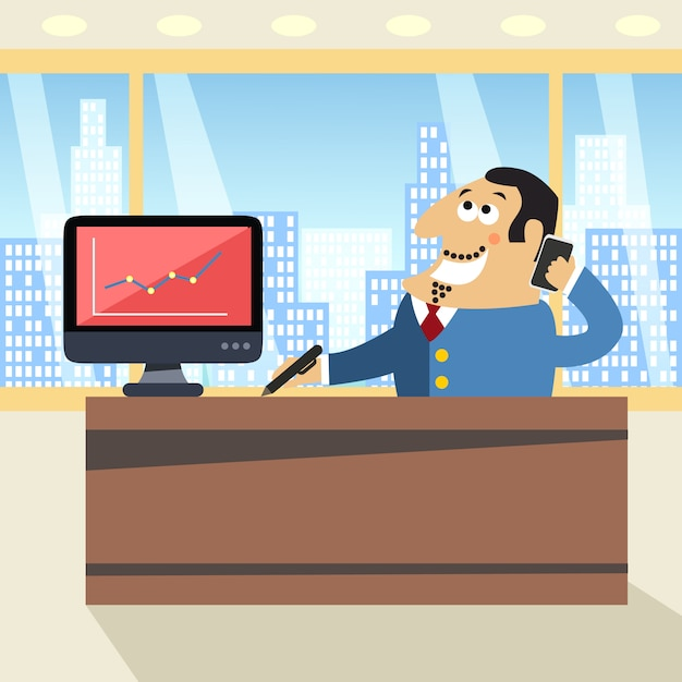 Boss in office Free Vector