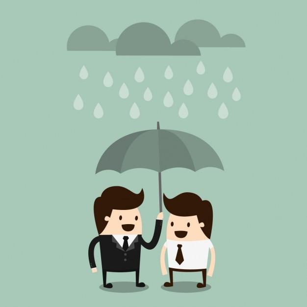 Boss sharing an umbrella with an employee Free Vector