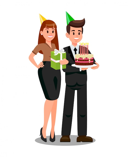 Boss and wife ready to corporate party flat vector Premium Vector