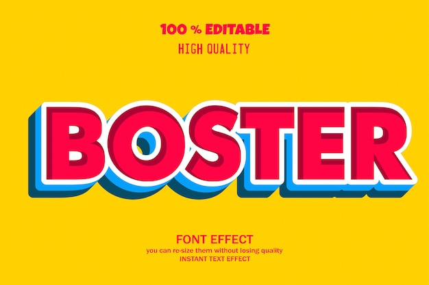 Boster  3d text style, Premium Vector