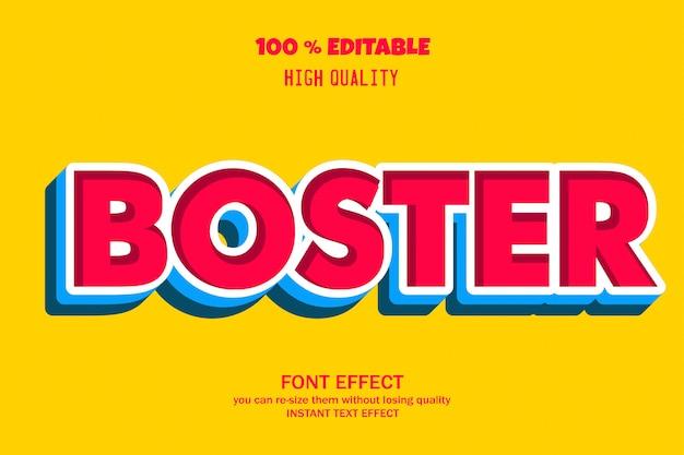 Boster text, editable font effect Premium Vector