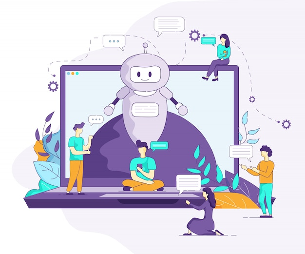 Bot artificial intelligence supports communication Premium Vector