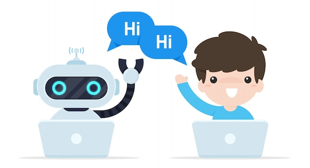 Bot chat say hi. robots that are programmed to talk to customers online. Premium Vector