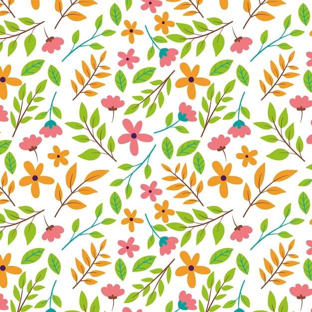 Ботанический узор с цветами и листьями Бесплатные векторы