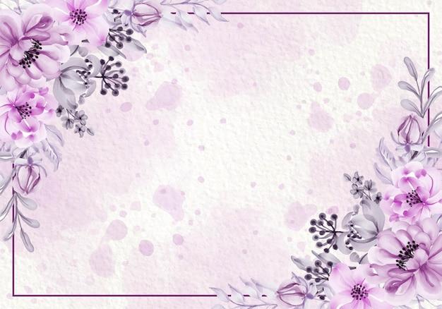 Ботаническая розовая фиолетовая открытка с полевыми цветами, листьями, рамкой Бесплатные векторы