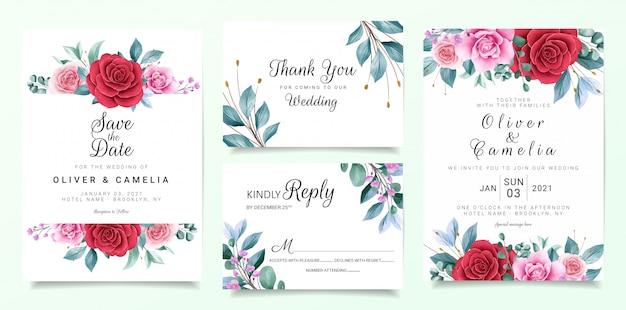 Botanic wedding invitation card template set with burgundy and peach watercolor flowers decor Premium Vector