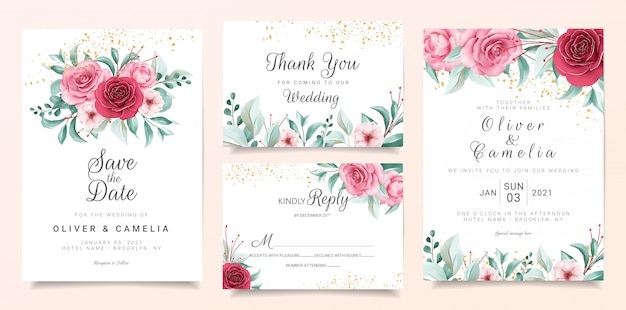 Botanic wedding invitation card template set with burgundy and peach watercolor flowers Premium Vector