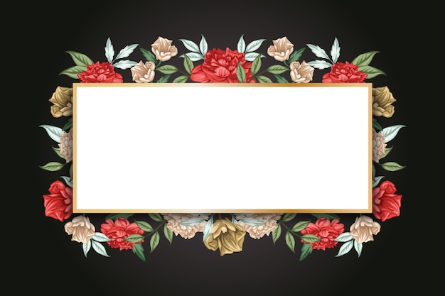 Botanic winter flowers with empty banner Free Vector