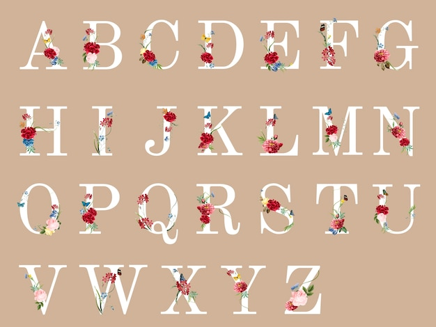 Botanical alphabet with tropical flowers illustration Free Vector
