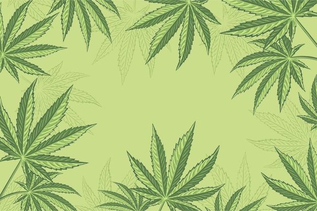 Ботанический фон листьев конопли Бесплатные векторы