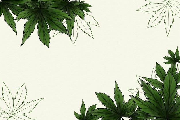 植物の大麻の葉の背景 無料ベクター