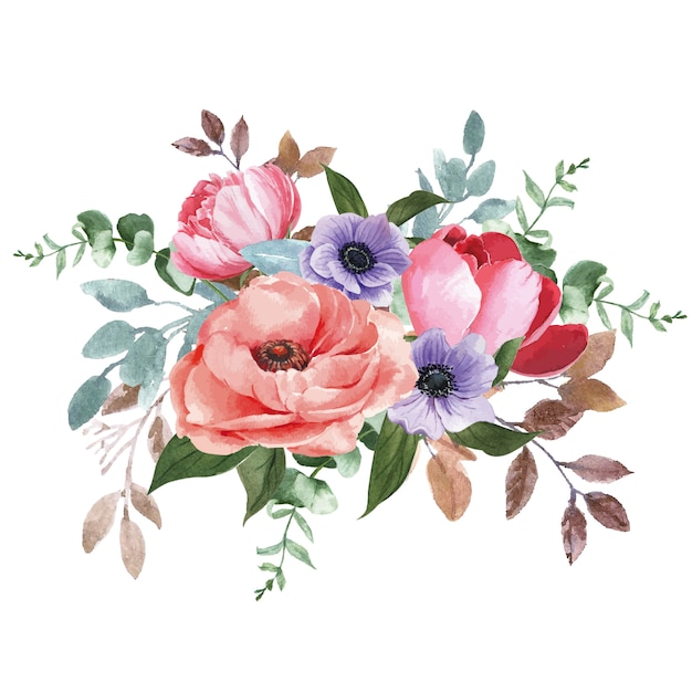 Botanical flower watercolor bouquet elegance blooming Free Vector