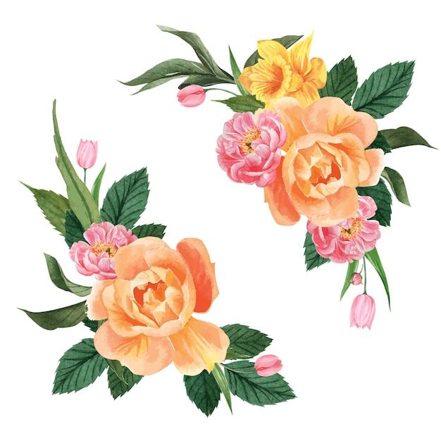 Botanical flower watercolor bouquet elegance blooming Free Vector