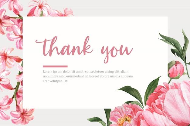 Botanical flower watercolor frame border blooming, print illustration Free Vector