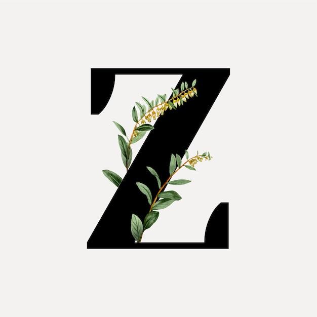 Botanical font letter a Free Vector