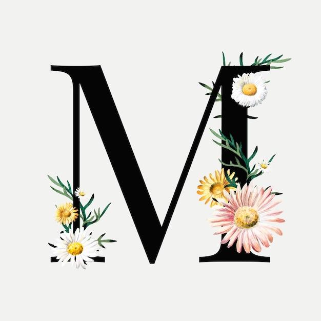 Lettera botanica m Vettore gratuito