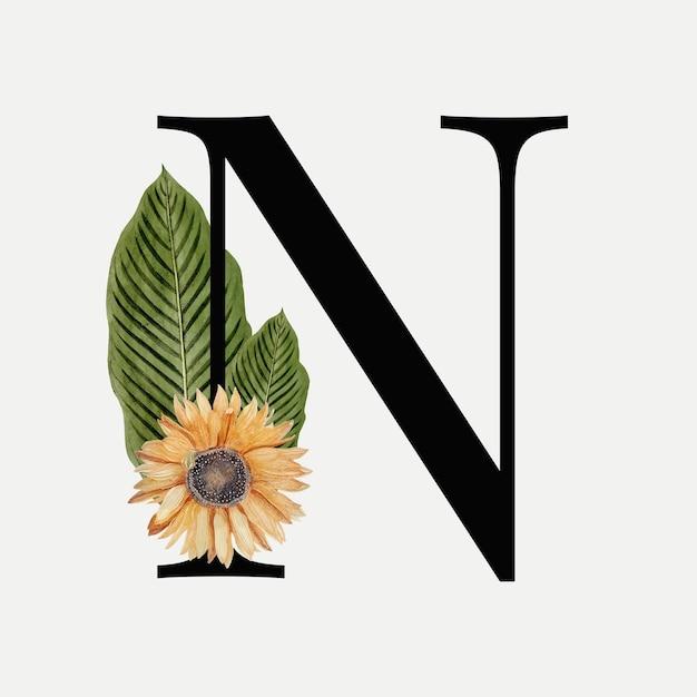Lettera botanica n Vettore gratuito