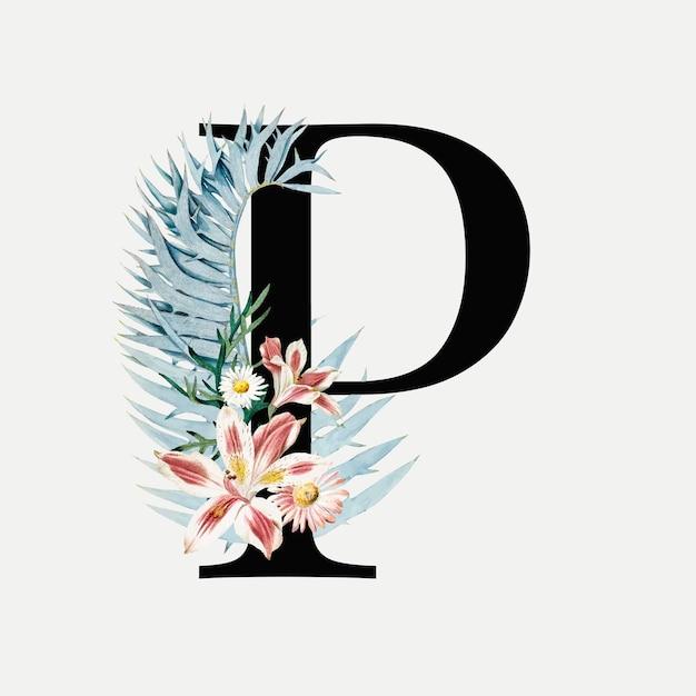 Lettera botanica p Vettore gratuito