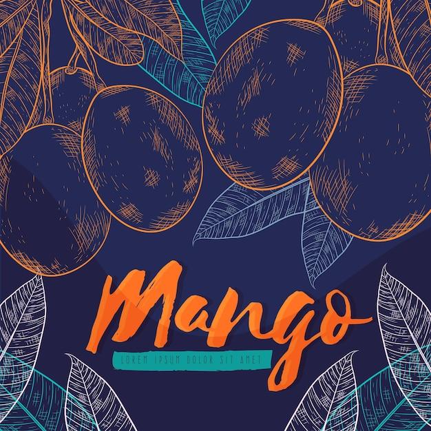 Botanical mango tree illustration Premium Vector