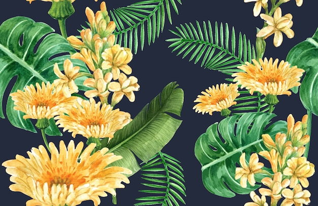 Botanical pattern flower watercolor, thanks card, textile print illustration Free Vector