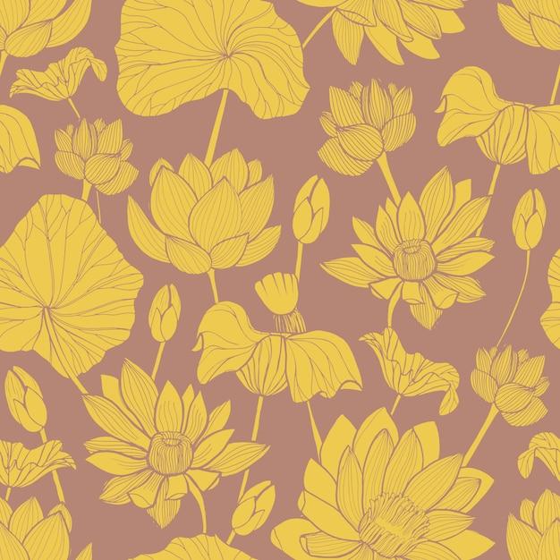 茶色の背景に描かれた美しい黄色い咲く蓮の手で植物のパターン。 Premiumベクター