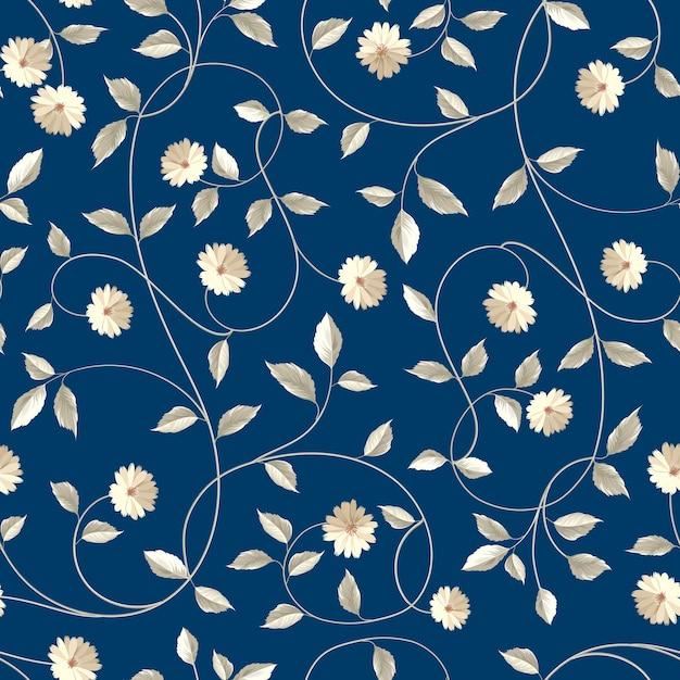 植物のシームレスなパターン。レトロなスタイルで咲く花。 無料ベクター