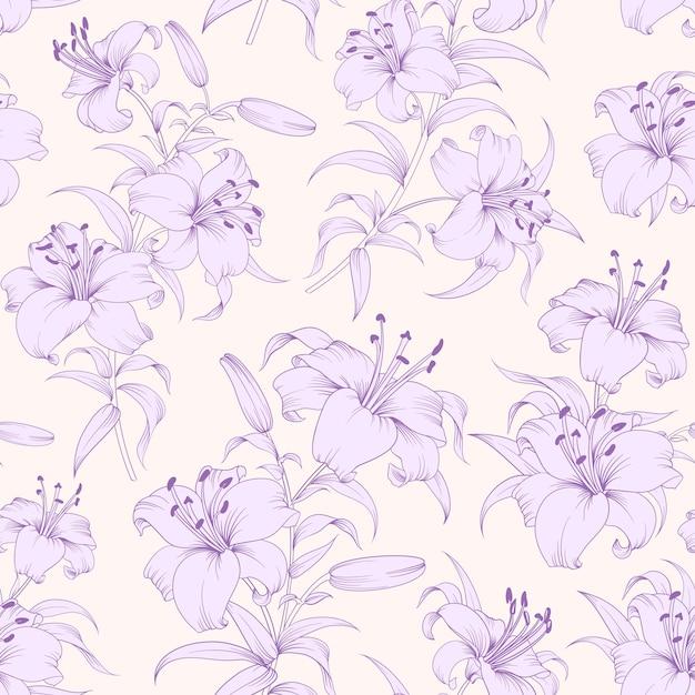 植物のシームレスなパターン。咲く花ユリ。 無料ベクター