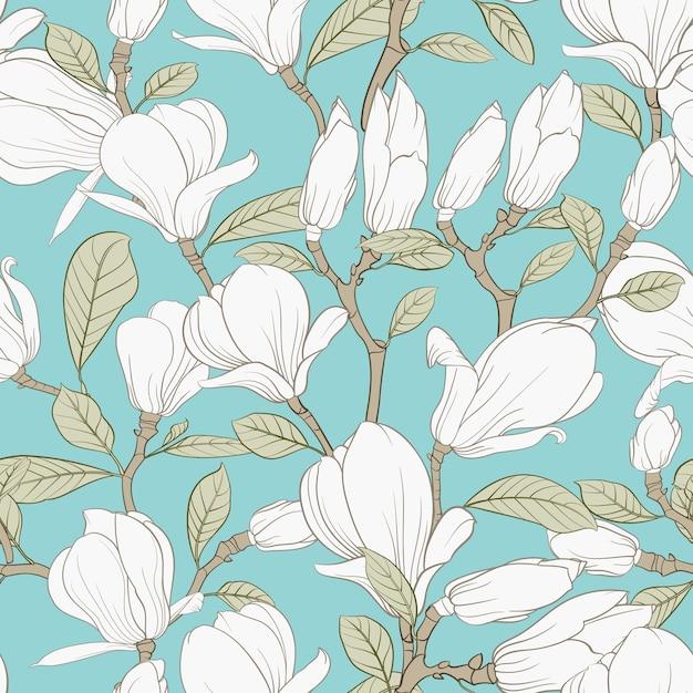 Ботанический бесшовный образец. цветущий цветок магнолии. Бесплатные векторы
