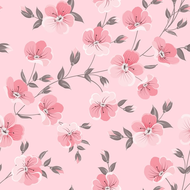 植物のシームレスなパターン。ピンクの背景に咲く花。 無料ベクター