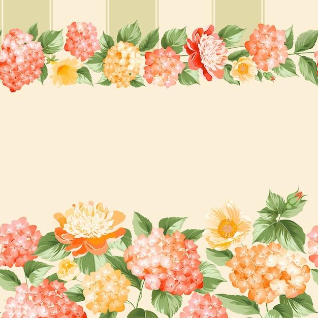 植物のシームレスなパターン。ピンクの背景に咲くアジサイ。 無料ベクター