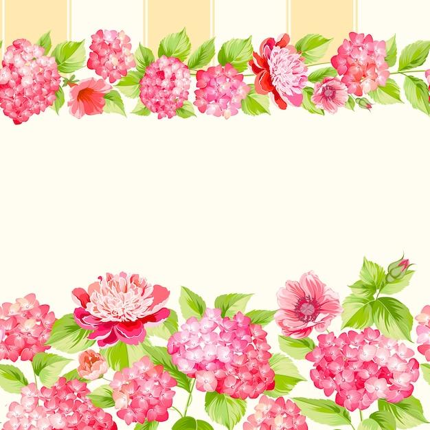 植物のシームレスなパターン。白い背景に咲くアジサイ。 無料ベクター