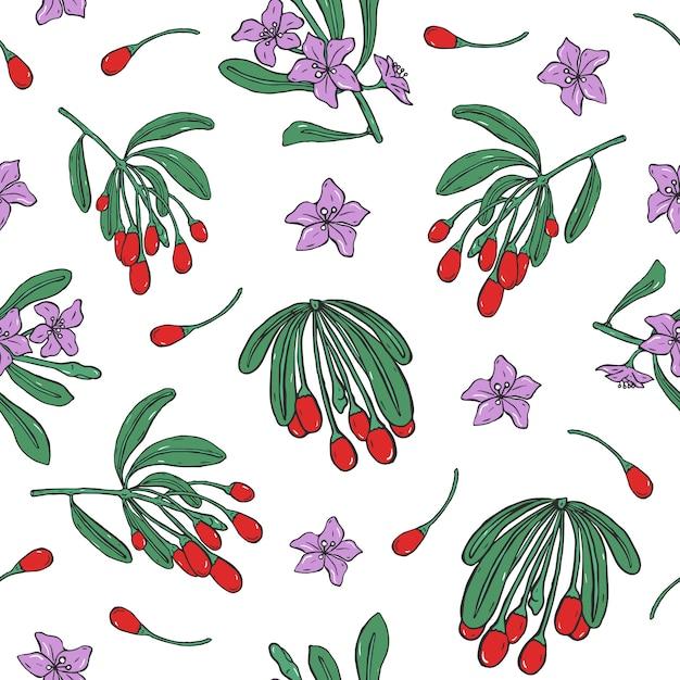 新鮮な室伏赤い果実と白い背景の上の紫色の花と植物のシームレスなパターン。 Premiumベクター