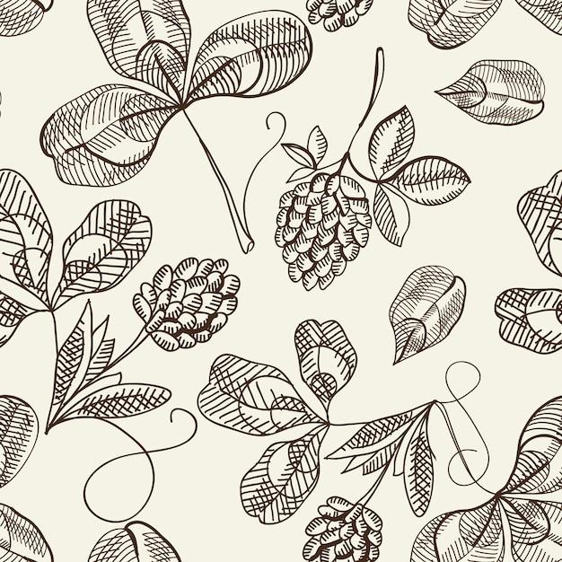 식물 원활한 패턴 무료 벡터