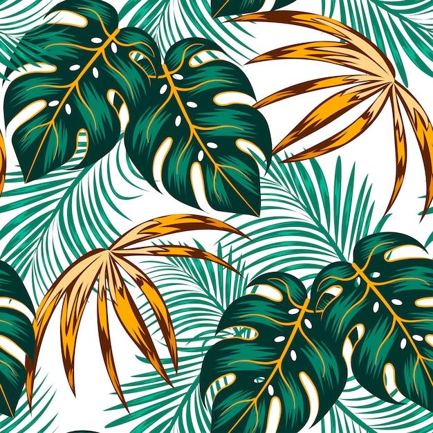 Ботанический бесшовные тропический узор с яркими листьями и растениями на светлом фоне Premium векторы