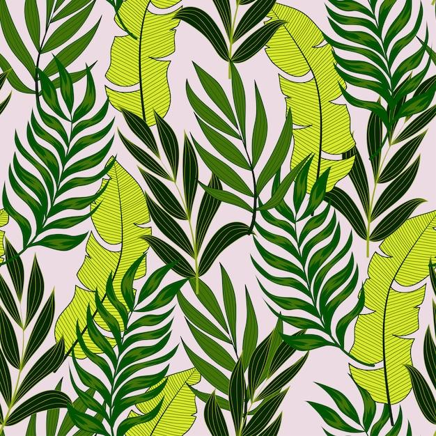 Ботанический бесшовный тропический узор с яркими листьями и растениями на пастельном фоне Premium векторы