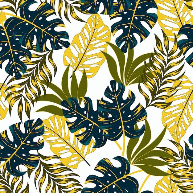 Ботанический бесшовный тропический узор с яркими растениями и листьями на нежном фоне Premium векторы