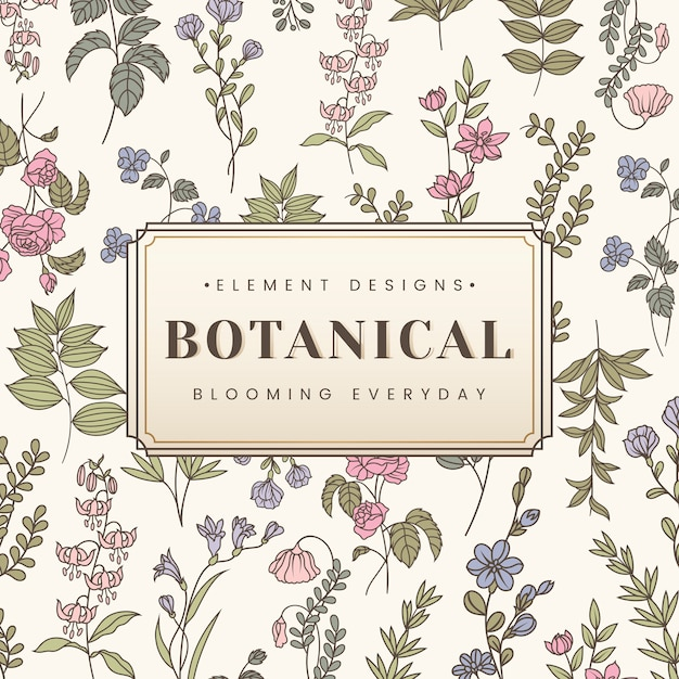 Botanical text banner Free Vector