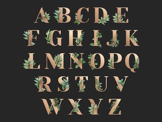 Ботанический тематический алфавит Бесплатные векторы
