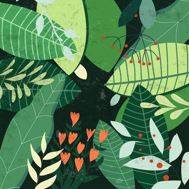 Botanical tropical green leave pattern Premium Vector