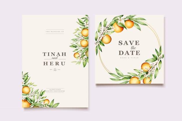 Botanical watercolor orange fruits wedding invitation card template Free Vector